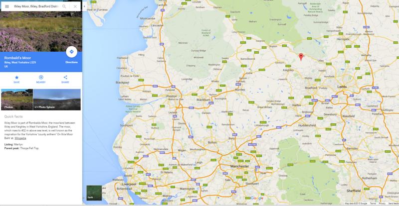 ilkley moor map northern england