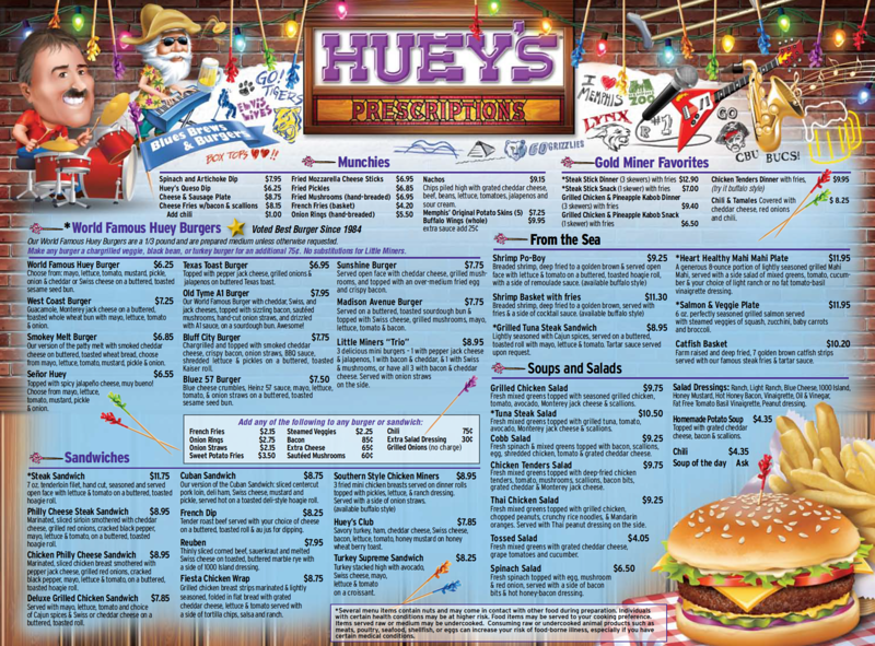 huey's restaurant menu