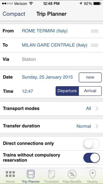 eurail scheduling app